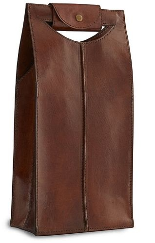 Leather Wine Tote  Saddle Brown