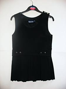 Box Pleat Black Pinafore 7/8