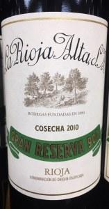 La Rioja Alta 904 Gran Reserva Rioja 2010 (750ml)
