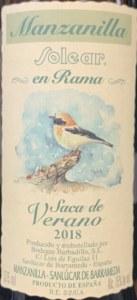 Bodegas Barbadillo Manzanilla Solear en Rama Saca de Verano NV (375ML)