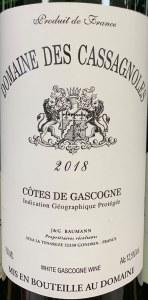 Domaine des Cassagnoles Cotes de Gascogne 2018 (750ml)