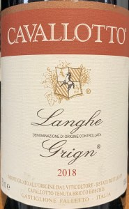 Cavallotto Langhe Grign 2018 (750ML)