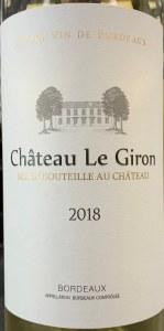 Chateau Le Giron Bordeaux Blanc 2018 (750ml)