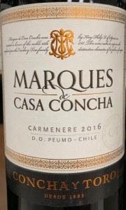"""Concha y Toro """"Marques de Casa Concha"""" Maipo Valley Carmenere 2016(750ML) - 90pts"""