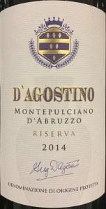 D'Agostino Montepulciano d'Abruzzo Riserva 2014 (750ml)