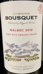 Domaine Bousquet Malbec Tupungato Valley Mendoza 2018 (Organic) (750ML)
