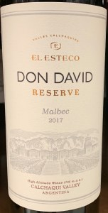Bodega El Esteco Malbec Calchaqui Valley Don David Reserve 2018 (750ml)