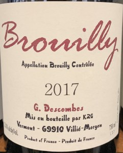 Georges Descombes Brouilly Cru Beaujolais 2017 (750ML)