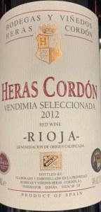 Bodegas Heras Cordon Vendimia Seleccionada Rioja 2012 (750ml)