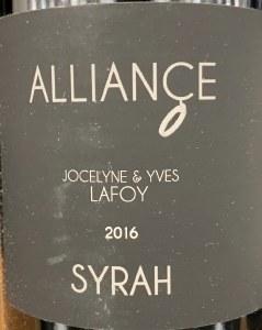 Domaine Jocelyne & Yves Lafoy Alliance Collines Rhodaniennes Syarh 2016 (750ml)