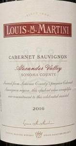 Louis Martini Sonoma Alexander Valley Cabernet Sauvignon 2016 (750ML)