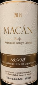 Bodegas Benjamin de Rothschild Vega Sicilia Macan Rioja 2015 (750ml)