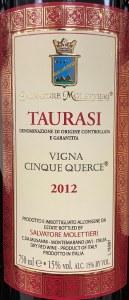 Salvatore Molettieri Taurasi Vigna Cinque Querce 2012 (750ml)