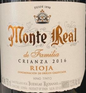 Bodegas Monte Real Rioja Crianza de La Familia 2016 (750ML)