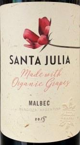 Santa Julia Organic Malbec Mendoza 2018 (750ML)