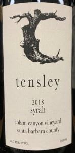 Tensley Colson Canyon Santa Barbara County Syrah 2018 (750ML)