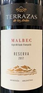 Terrazas de los Andes 'Reserva' Malbec Mendoza 17 (750ml)