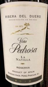Perez Pascuas Vina Pedrosa 'La Navilla' Ribera Del Duero 2012 (750ML)