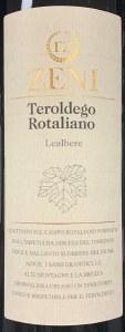 Cantina Fratelli Zeni Teroldego Rotaliano Lealbere 2016 (750ml)