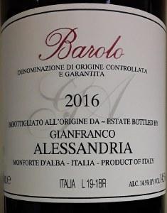 Gianfranco Alessandria Barolo 2016 (750ml)