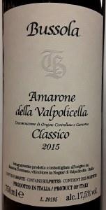 Tommaso Bussola Amarone della Valpolicella Classico 2015 (750ml)