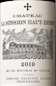 Chateau la Mission-Haut-Brion Pessac-Leognan Grand Cru Classe de Graves 2010