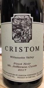 Cristom Pinot Noir Mount Jefferson Willamette Valley 2017 (750ML)