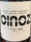 Carlos Moro Rioja Crianza Oinoz 12