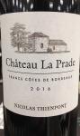 Chateau la Prade Cotes de Francs 2016 (750ML)
