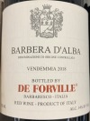 De Forville Barbera d'Alba 2018 (750ML)