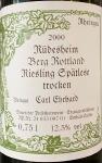Carl Ehrhard Rudesheim Berg Rottland Spatlese Trocken 2000 (750ml)