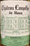 Chateau Lamothe de Haux Bordeaux Blanc 2019 (750ML)
