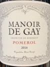 Manoir de Gay Pomerol 2016 (750ml)