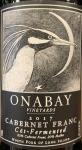 Onabay Vineyards Cabernet Franc Cot fermented Long Island 2017 (750ml)
