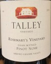 Talley Vineyards Rosemary's Vineyard Pinot Noir 2016 (750ml)