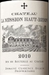 Chateau la Mission-Haut-Brion Pessac-Leognan Grand Cru Classe de Graves 2010 (750ML)