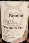 Domaine de l'Ecu Granite Muscadet Sevre et Maine 2018 (750ML)