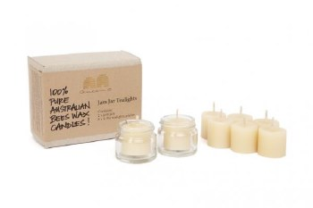Beeswax Tealights 2 Jam Jars 8 candles (6 refills)