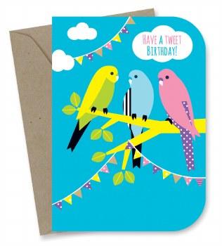 Greeting Card - Tweet Budgies