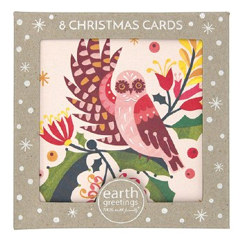 Christmas Cards Set 8 Owl & Mistletoe