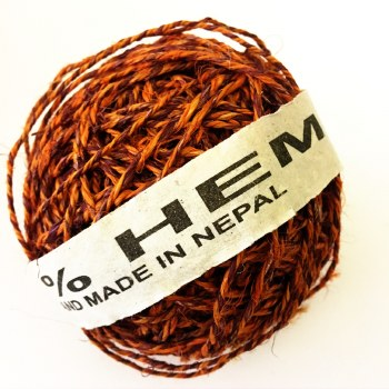 Hemp Ball of Twine Large Purple/Orange