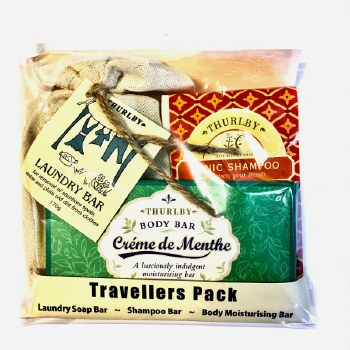 Travel Bars: Tonic Shampoo Bar, Creme de Menthe moisturising Bar and Laundry Bar