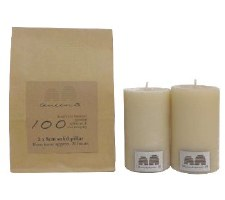 Beeswax Candle 8cm Solid Pillar 2pk