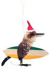 Christmas Ornament Surfing Kookaburra