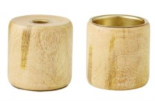 Candle Holder Natural Mangowood - double ended