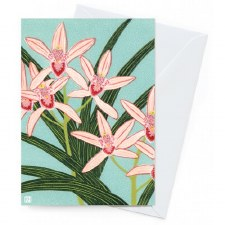 Greeting Card - Pink Orchids