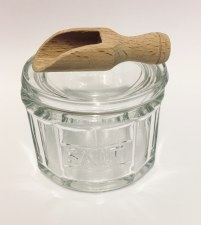 Glass Salt Pot with wooden scoop