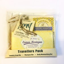 Travel Bars: Lustre Shampoo Bar, Lemon Meringue moisturising bar and Laundry Bar
