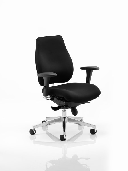 Chiro Plus 'Ergo' Posture Chair with Arms Black Fabric