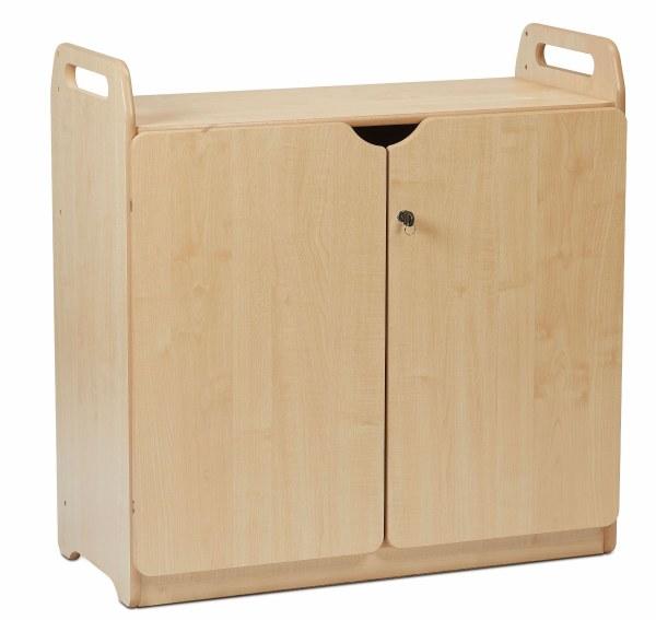Lockable Cupboard with Display/Mirror Back
